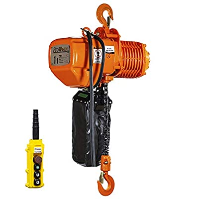 Prowinch 1 Ton Electric Chain Hoist 2000 lbs Capacity 20ft Lifting Height G100 Chain Water Resistant Pendant Control M4/H3 Duty Cycle 3 Phase 240/380/460V