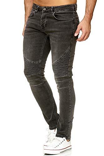Tazzio Herren Denim Biker-Jeans im Destroyed Look Slim Fit 16517 (32/30, schwarz)