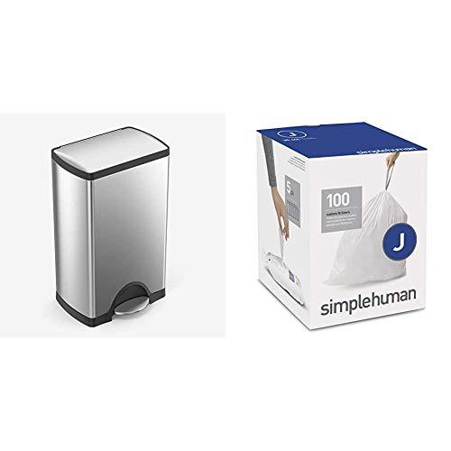 simplehuman 38 Liter / 10 Gallon Rectangular Kitchen Step Trash Can, Brushed Stainless Steel