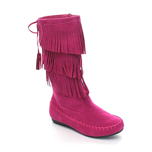 Link Candice-16K Girl's 3 Layer Fringe Moccasin Boots,Fuchsia,11