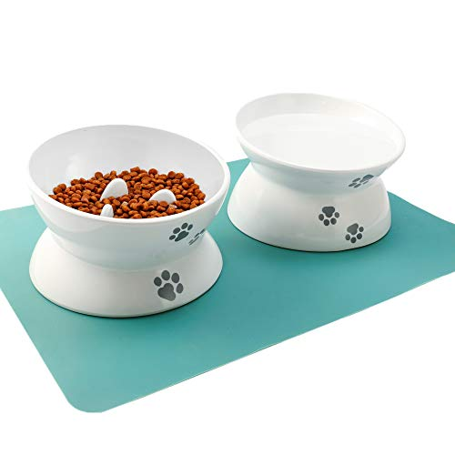 best slow feed cat bowl - RoyalCare Raised Cat Bowl Elevated Slow Feeder No Spill Melamine Stress Free Pet Feeder and Waterer