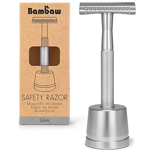 Maquinilla de Afeitar Clásica | Maquinilla de Afeitar para Mujeres y Hombres | Incluye Soporte Cuchilla de Afeitar | Compatible con Todas las Hojas de Afeitar | Máquina de afeitar clásica| Bambaw