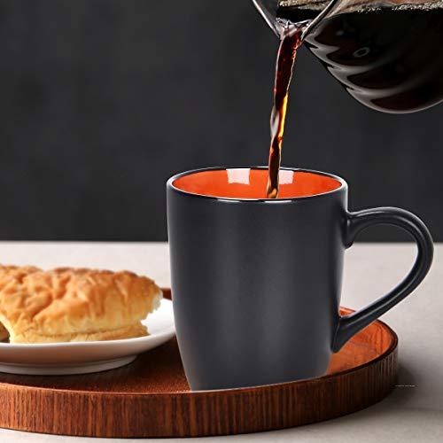 Set of 6 Coffee Mug Sets, 16 Ounce Ceramic Coffee Mugs Restaurant Coffee Mug, Large-sized Black Coffee Mugs Set Perfect for Coffee, Cappuccino, Tea, Cocoa, Cereal, Black outside and Colorful inside