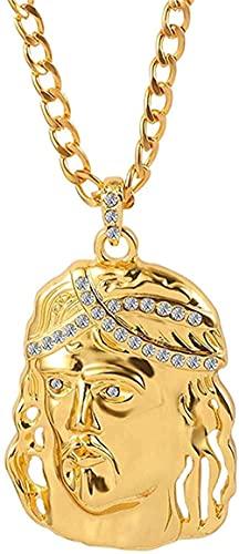 banbeitaotao Hip Hop Cruz Jesucristo Color Dorado Collar clásico Corona de Cristal Collar Colgante Adorno