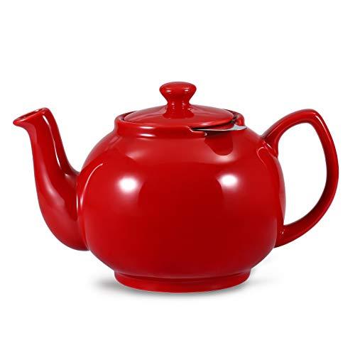 Urban Lifestyle Teekanne/Teapot Klassisch Englische Form aus Keramik Cambridge 1,6L mit Teefilter aus Edelstahl (Rot)