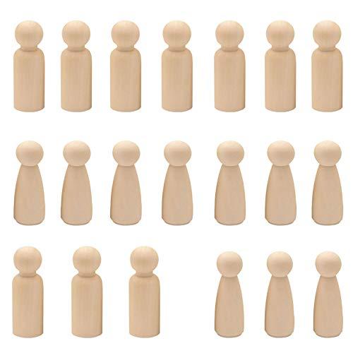 NAHUAA 20 Stück Spielfiguren Figuren Holzfiguren Kleinen Holzmenschen Familie Natürlich DIY Puppe Menschen für Weinachten Malerei Handwerk Kunst Hochzeit Geburtstag Dekoration