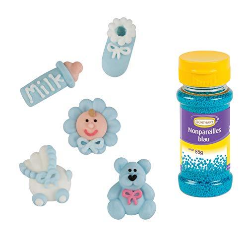 Günthart 16 Zuckerfiguren für Taufe & Baby Shower mit blauen Streudekor