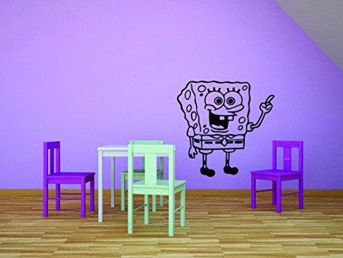 Autocollant Mural : Bob l'éponge Dessin animé pour Enfants Chambre à Coucher d'école Salle de Classe Daycare Pre école personnalisés Autocollant Mural en Vinyle Autocollant 12 inches X 12 inches Noir