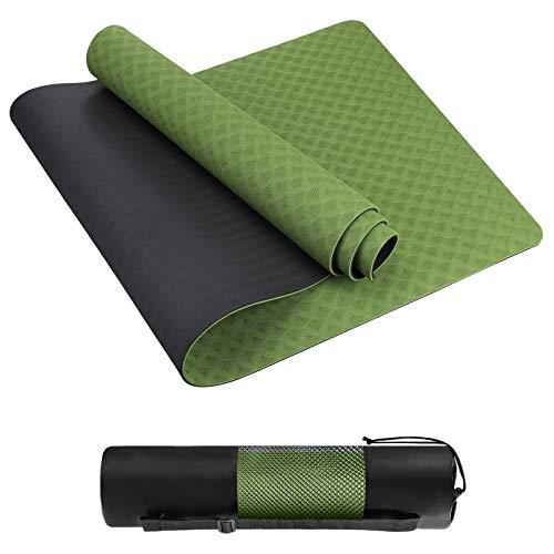 Homtiky Yogamatte Gymnastikmatte rutschfeste Sportmatte/Übungsmatte aus TPE Material Workout & Gymnastik und Tasche Ideal für Fitness, Yoga, Pilates mit Tragegurt(183 * 62 * 0.6cm) (GreenBlack)
