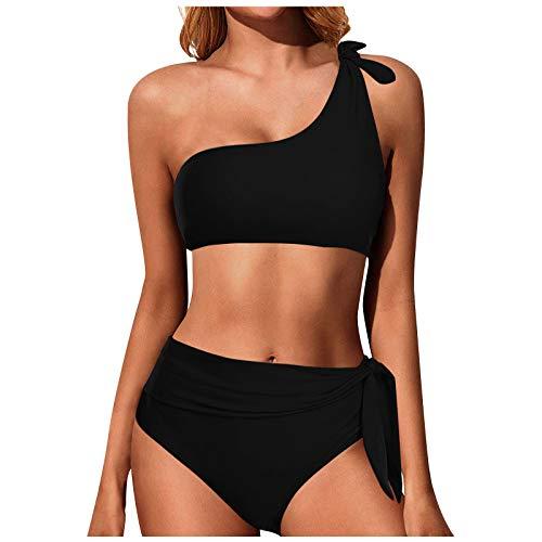 GOKOMO Bikini Damen Set Sexy Tropisch Eine Schulter Bademode Bikini Oberteil Hohe Taille Badeanzug Zweiteiliger Tankini Schwimmshirt Badeanzüge Strandkleidung