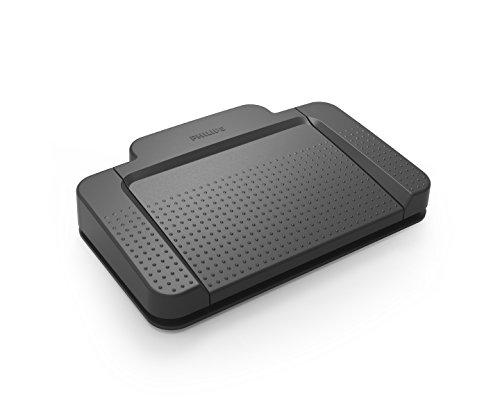 Philips ACC2320 USB-Fußschalter, 3 Pedal-Design Schnellvorlauf, Wiedergabe, Schnellrücklauf, CD mit Treibern und Konfigurationssoftware Anthrazit
