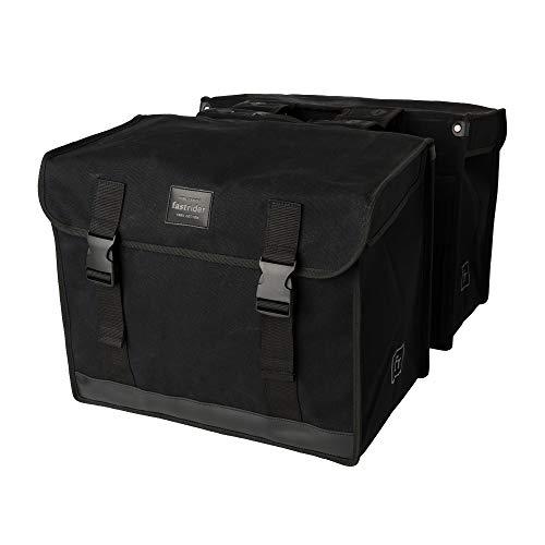 FastRider Canvas 37 Doppelte Fahrradtasche für Gepäckträger, 65L Seitentasche Fahrrad, 100% Kanevas Gepäckträgertasche, Wasserabweisend, Reflektierend, Einfache Montage - Schwarz