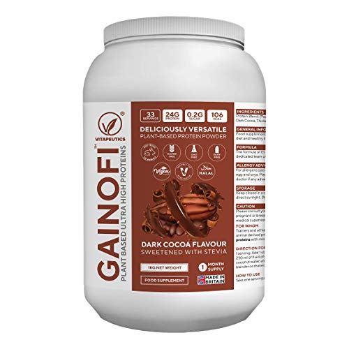 Gainofi - Plant Based Ultra High Proteins Powder - Dark Cocoa Flavour - 1kg (1 Month Supply) - for Weight Gain, Lean Muscle Repair, Maintenance & Growth - Made in The UK
