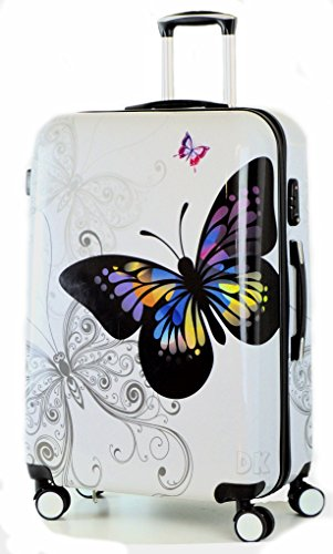 DK Luggage Lightweight ABS Polycarbonate Hardshell Cabin 20' Suitcases 4 Wheel Spinner White Butterfly