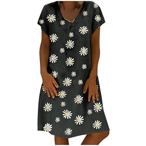 URIBAKY Frauen Schöne Übergröße V-Ausschnitt T Shirt Kleider Damen Sommer Tunika Kleid,Elegant Daisy-Drucken Kurzarm Loses Knielanges Kleid Große Größen