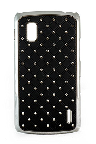 Videotronix Stone Studded Diamond Hard Back Case Cover for LG Google Nexus 4 E960 Black