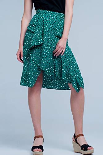 Q2 Falda Midi Verde con Estampado Floral de Lunares y Detalle de Volante, L Mujeres