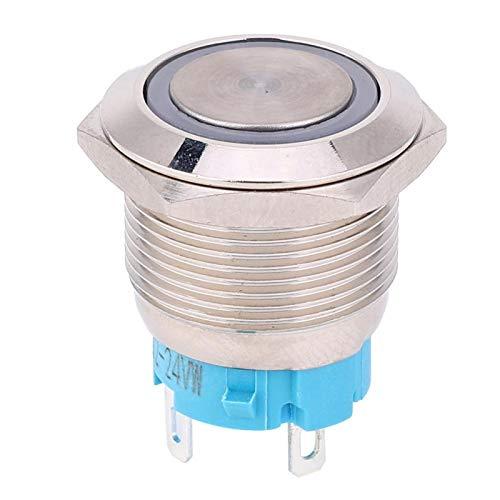 Interruptor de botón, interruptor de botón de 4 pines, 1NO a prueba de óxido resistente a la corrosión para Silver Point 12~24VDC 2pcs toque cómodo(white)