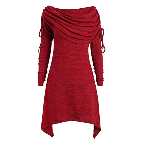 iHENGH Damen Plus Size Damenmode solide Geraffte Lange Foldover Kragen Tunika Frauen Bluse Tops (Rot, L)