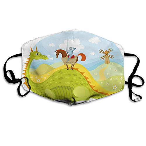 GULTMEE Fantasy, Knight Don Quixote with Horse on Dragon Valley Medieval Fairytale Image,Fruits Green Sky Blue Women Men Fashion Cloth Face Mask Washable Reusable Adjustable Breathable Made in USA