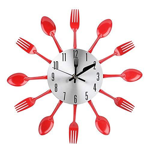 Raguso Reloj de Cubiertos de Acero Inoxidable silencioso 3D, Cuchillo y Tenedor, Cuchara, Reloj de Pared, Reloj Colgante para el hogar, Cocina, Comedor, decoración(Rojo)