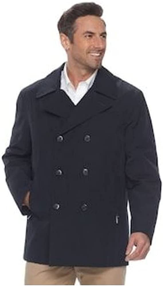 Chaps Men's Classic Fit Double-Breasted Wool-Blend PeaCoat, Charcoal, 44 Long