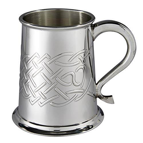 Wentworth Pewter Embossed Islay Celtic Knot Pewter tankard, Beer Mug