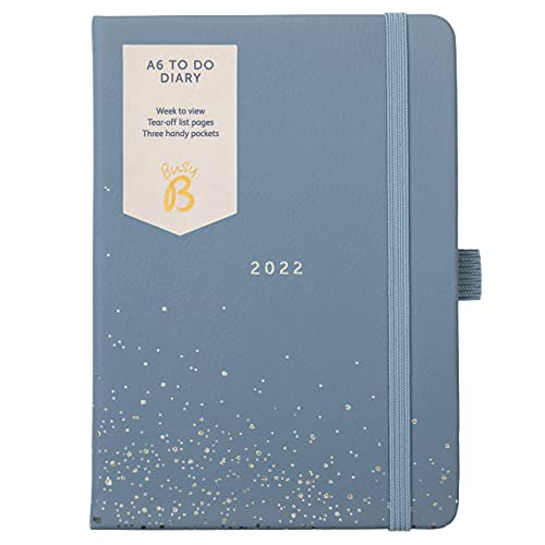 Busy B to Do Diary January to December 2022 – A6 Blue Week to View Diary with Notes, Tear-Out Lists & Pockets