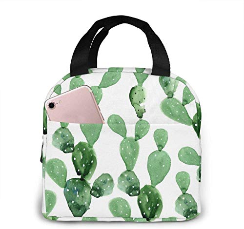 Watercolor Cactus Pattern Lunch Bag for Women Girls Kids Insulated Picnic Pouch Thermal Cooler Tote Bento Large Meal Prep Cute Bag Big Leakproof Soft Bags for Lunch Box, Camping, Travel, Fishing