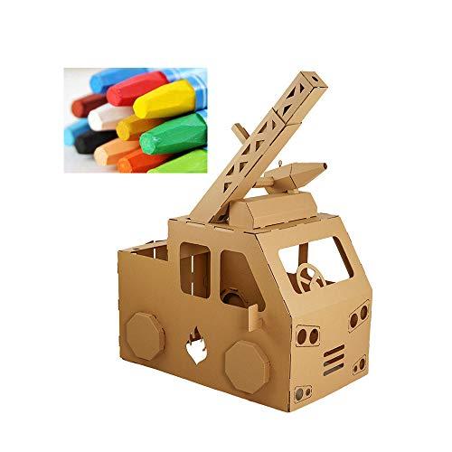 WWZL Juguete de Cartón 3D para Niños, Juego de Simulación, Camión de Bomberos, Jugar a la Casa para Colorear, Cosplay, Regalo para Niños