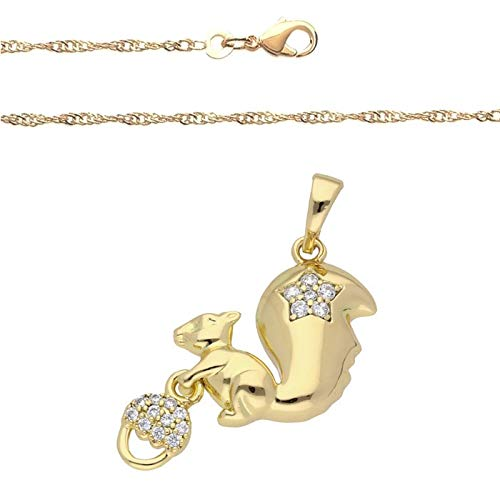 Cadena y colgante de ardilla, cristal blanco, oro amarillo 750 laminado*