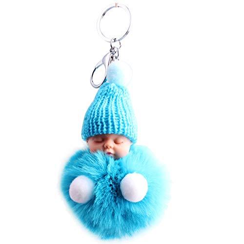 Zeagro Schlüsselanhänger aus weichem Plüsch mit niedlichem Charm, Kunstfell, Flauschiger Pompon, Schlüsselanhänger, Dekoration, 1 Stück hellblau