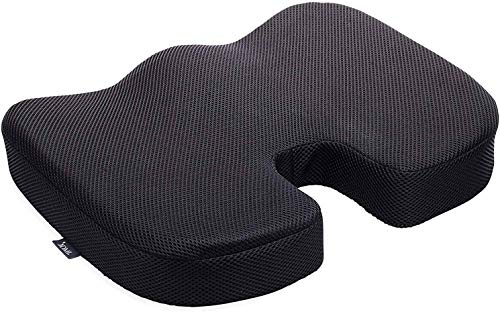 DMI Seat Cushion for Coccyx, Sciatica and Tailbone Pain to be Used on Dining Room Chairs, Desk Chairs, in Cars or on Wheelchairs, Memory Foam, Black ,Contoured