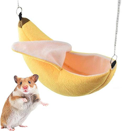 ISMARTEN Banana Hamster Bed House Hammock Small Animal Warm Bed House Cage Nest Hamster Accessories for Sugar Glider Hamster Small Bird Pet (Banana)