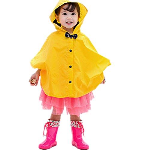 Taiduosheng Age 2~5 Kids Hooded Button Down Jacket Rain Raincoat with Bow Cover Long Rainwear Yellow M