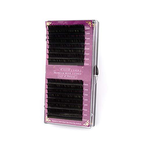 16Rows prime extension martre faux cils mat naturel noir oeil gros cils extension de cils cilios de maquillage, C, 0,12 mm, 9 mm