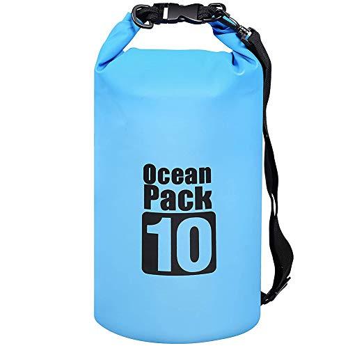 Dry Bag - Mochila de natación impermeable de 10 litros con correa ajustable para kayak, navegación, deriva de surf, azul impermeable accesorios
