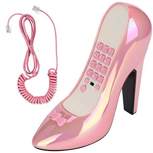 Hakeeta WX-3122 Telefoonhoesje met snoerloze vormdecoratie, met hoge haken, voor kinderen, met nummergeheugenfunctie, Kleurrijk roze