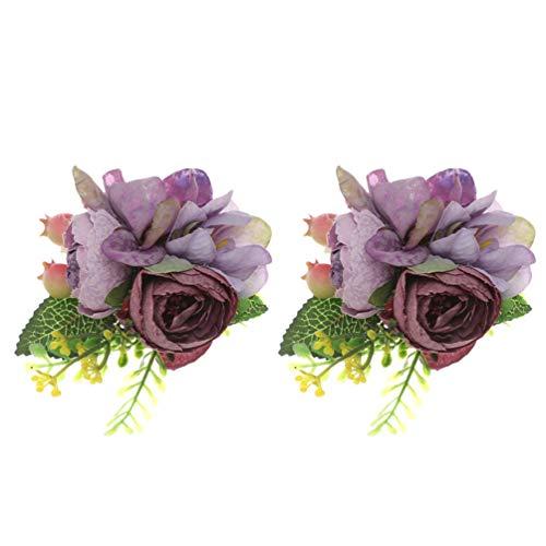 Amosfun 2 Piezas Pulsera Pulsera Flor Ramillete Pulsera Mano Flores Decoración Niña Novia Dama de Honor para Boda Fiesta de Graduación Fiesta (Púrpura)