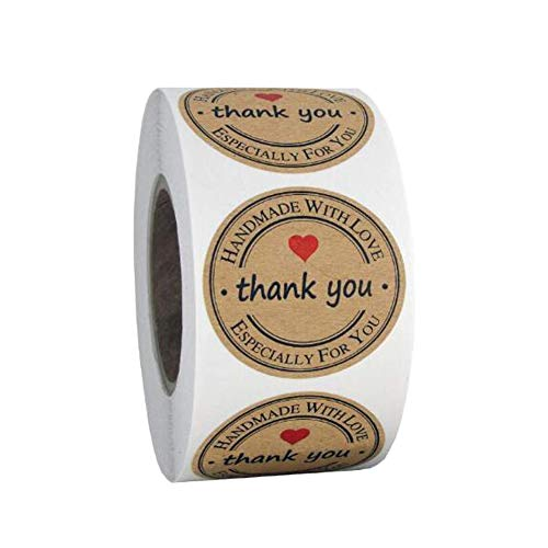 YAONIEO Thank You Stickers, 500 Pieces Thank You Stickers Roll Handmade with Love Thank You Labels Adhesive Label Roll Round Shaped Decorations for Baking Sealing Packaging