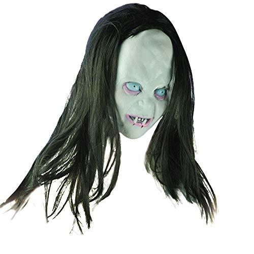 JXQ-N Karneval & Halloween Ghost Festival Horror Maske Überraschung Weibliche Geist Gesichtsmaske Cosplay Maske Scary Voller Kopf Cosplay Kostüm Requisiten Latex (Weiß)