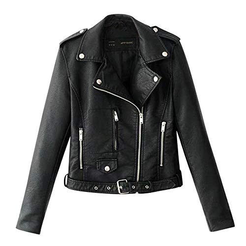 Aniywn Women's Faux Leather Motorcycle Biker Jacket Slim Short Ladies Lapel Bike Zipper Coat with Pocket Black