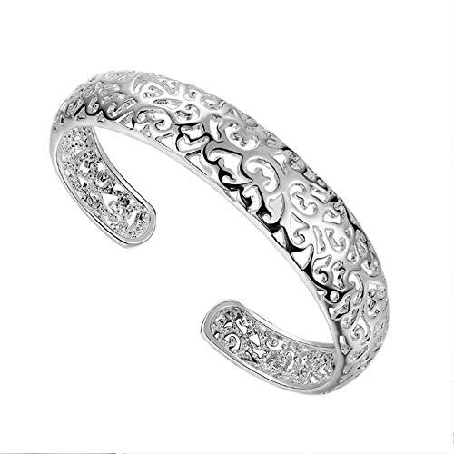 Silber Armreif koreanische Art und Weise ethnische durchbrochene Blume Armband Frauen 925 Sterling Silber Liebe indischen Schmuck Luxusmarke