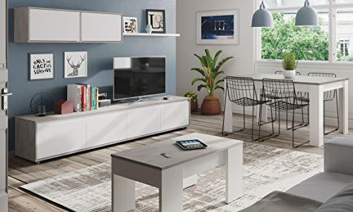 Miroytengo Pack Muebles salón Plutón I Estilo Moderno (Mueble Modular + Mesa Centro + Mesa Comedor)