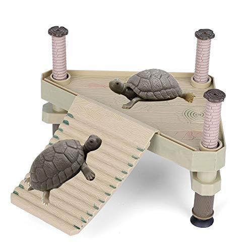 HEEPDD Plataforma Flotante de Reptiles, Plataforma Tomar el Sol de la Rana Tortuga con Escalera de Rampa Terrario Tanque Accesorio Mascotas Pequeñas Baño al Sol Juego Descanso