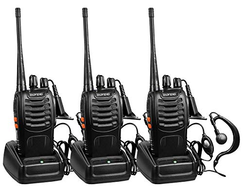 BaoFeng Two Way Radios Long Range FRS Walkie Talkies with Earpiece 3 Pack UHF Handheld Reachargeble Interphone for Adults or Kids Biking Hiking Camping Li-ion Battery and Charger Included