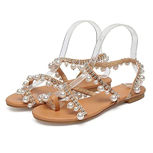 Liart Sandalias para Mujer con Perlas Verano Pisos Tobillo Tiras Gladiador Chanclas Zapatos Bohemia Vacaciones Zapatilla Destalonada