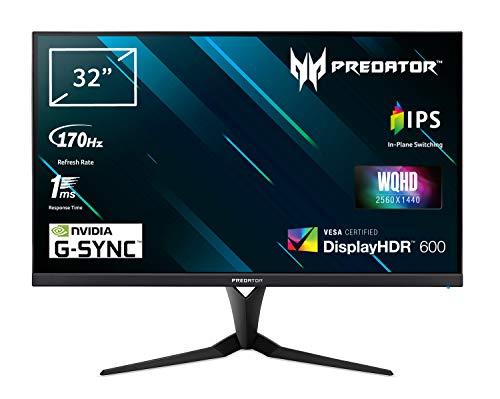 ACER Predator XB3 (XB323UG) 81 cm (32 Zoll) IPS ZeroFrame Monitor Matt (HDMI, DP, USB Hub 3.0, WQHD 2560x1440, 1ms (G2G), 170 Hz, 400 Nits, Pivot, Höhenverstellbar, NVIDIA G-Sync