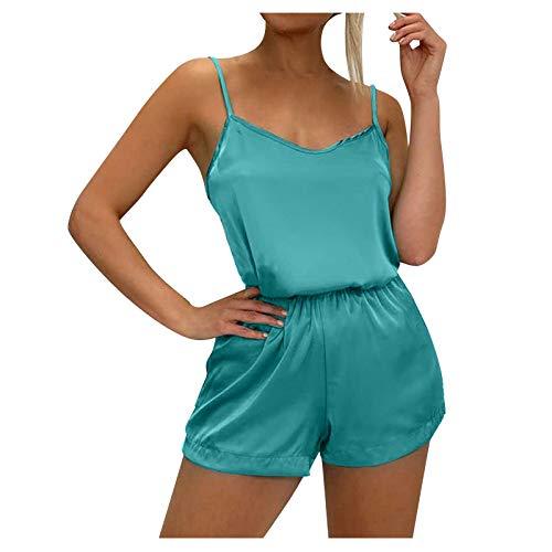 BOIYI Conjunto de lencería para Mujer Verano Honda Sin Mangas Pijama de Satén Ropa de Dormir Pantalones Cortos con Cintura Elástica Ropa Interior Camisón Babydoll(Verde,XL)