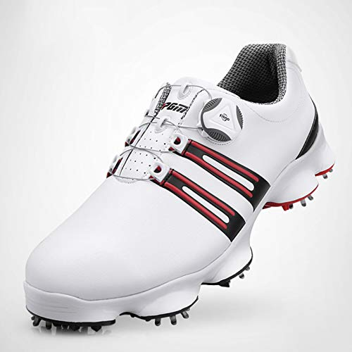 Utomhus fritid golf träningsskor herr sportskor, dubbla vattentäta professionella golfskor vandringsskor, snabb roterande spänne spets golfskor, avtagbara halkfria sko spikar